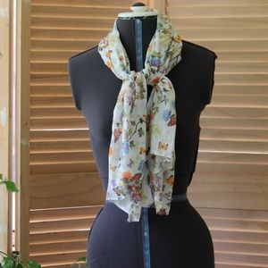 Floral & Butterfly Print on Cream Scarf